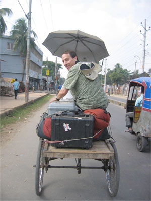 Photo of author in a Rickshaw